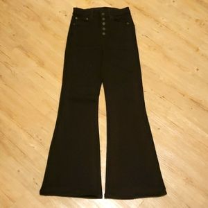 Super high-waisted black flare pants